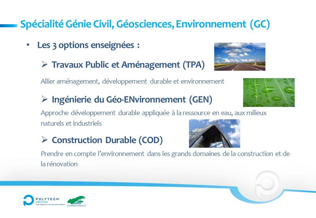 Spécialité Génie Civil, Géosciences, Environnement (GC)