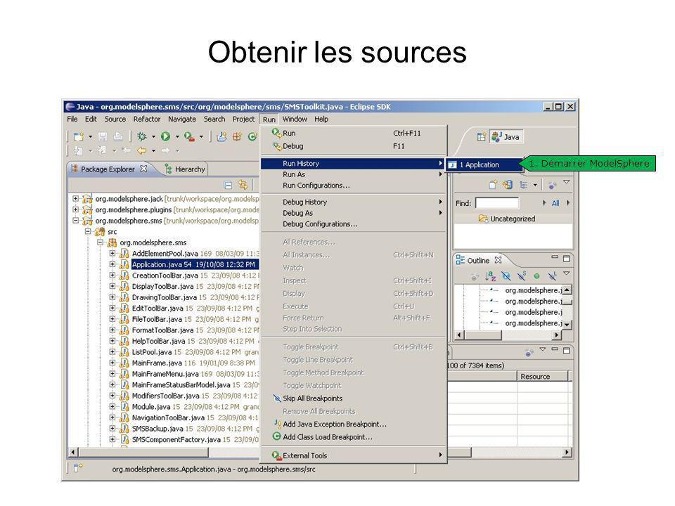 Obtenir les sources 1. Démarrer ModelSphere