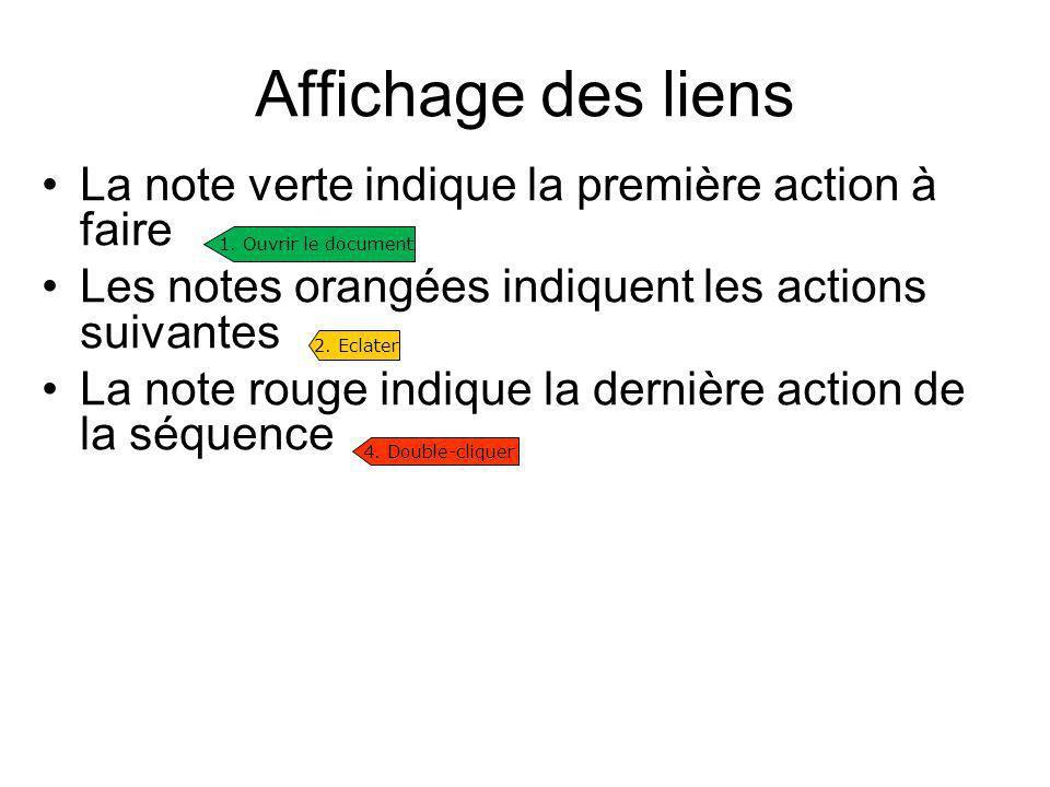 Affichage des liens La note verte indique la première action à faire