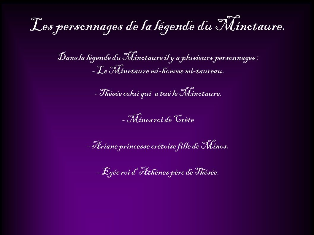 Les personnages de la légende du Minotaure.
