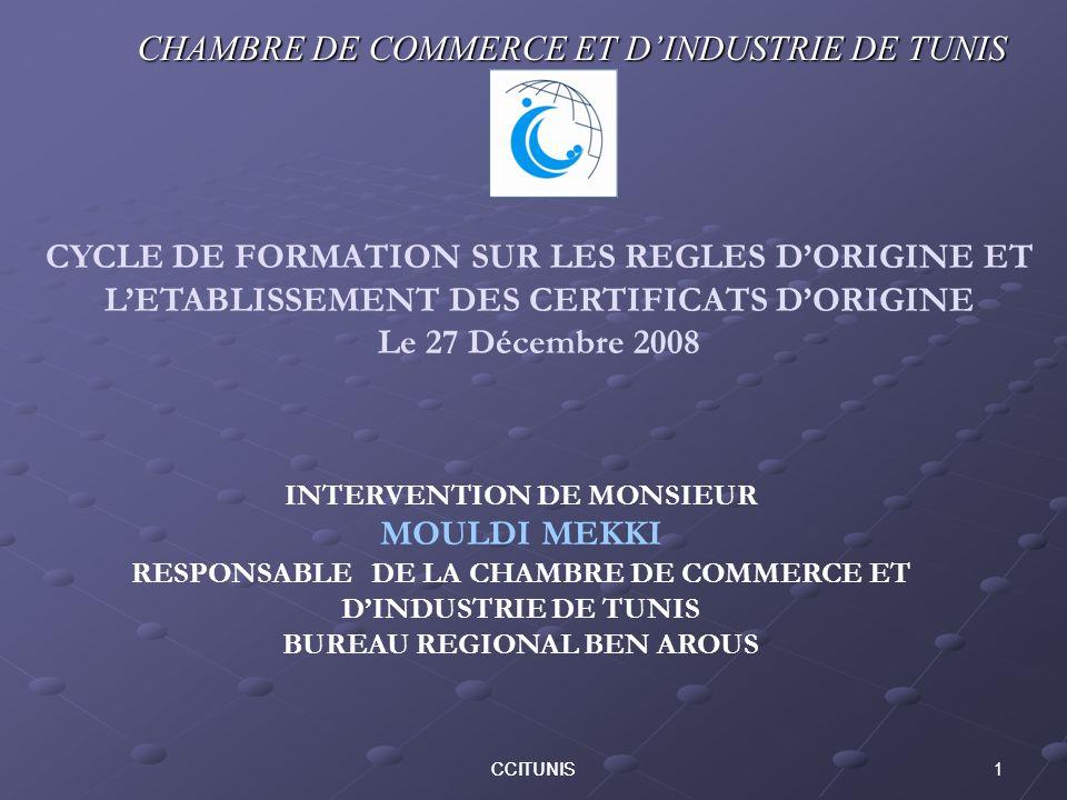CHAMBRE DE COMMERCE ET D'INDUSTRIE DE TUNIS