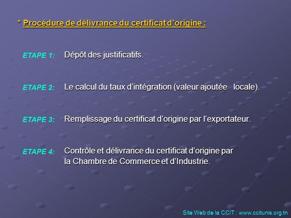 * Procédure de délivrance du certificat d'origine :