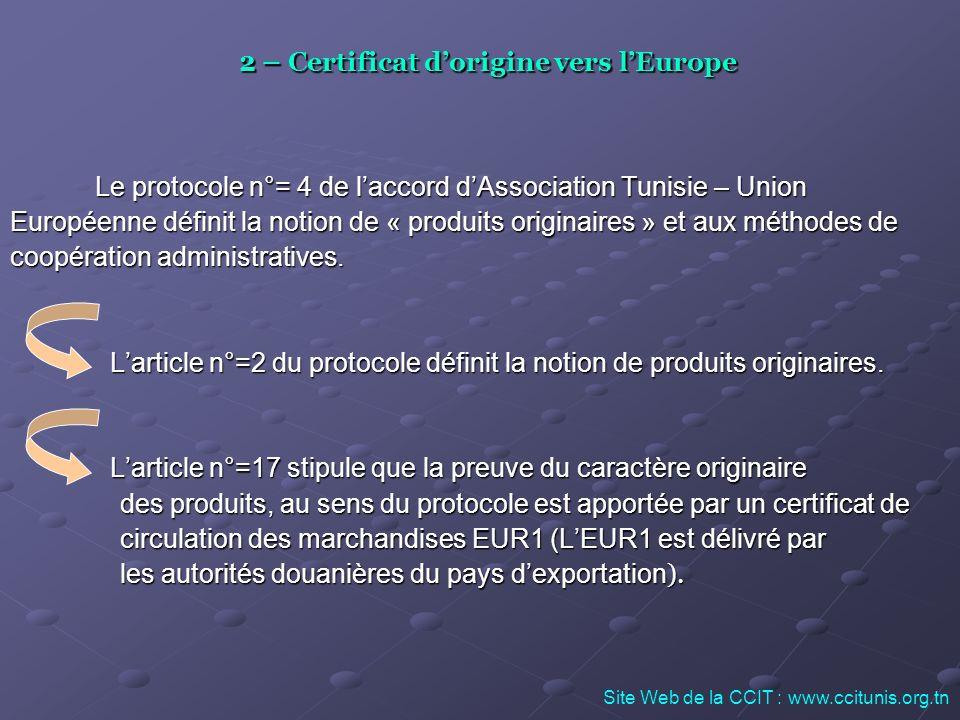 2 – Certificat d'origine vers l'Europe