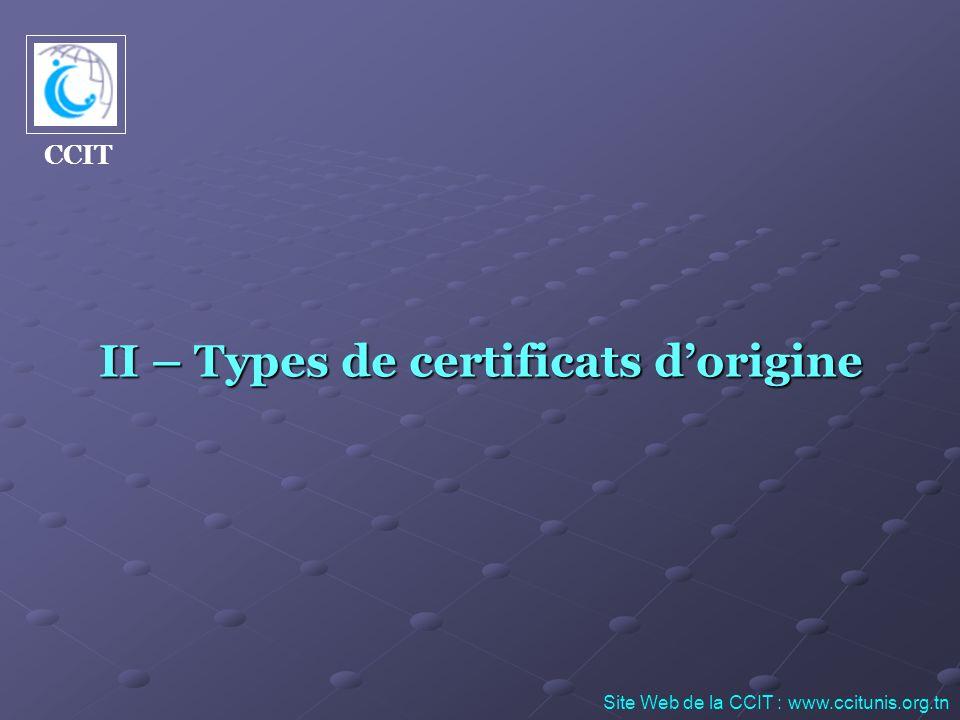 II – Types de certificats d'origine
