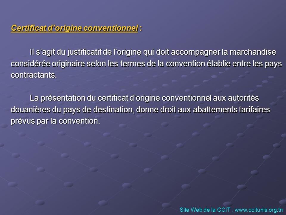 Certificat d'origine conventionnel :