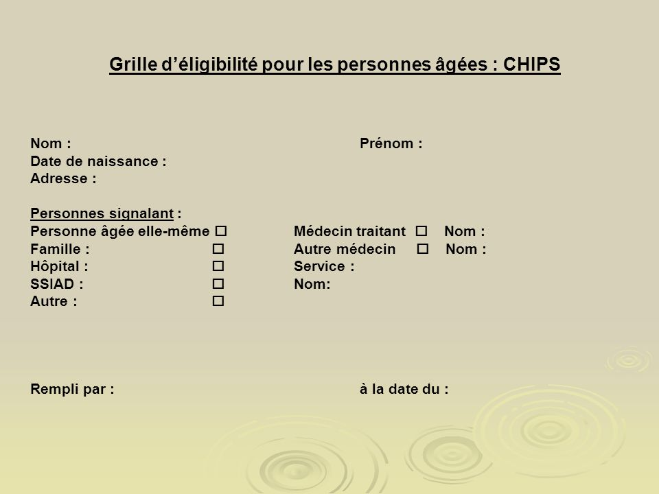 Grille d'éligibilité pour les personnes âgées : CHIPS