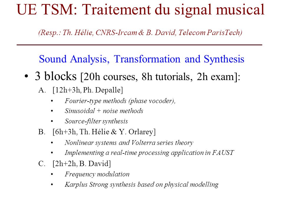 Sound Analysis, Transformation and Synthesis