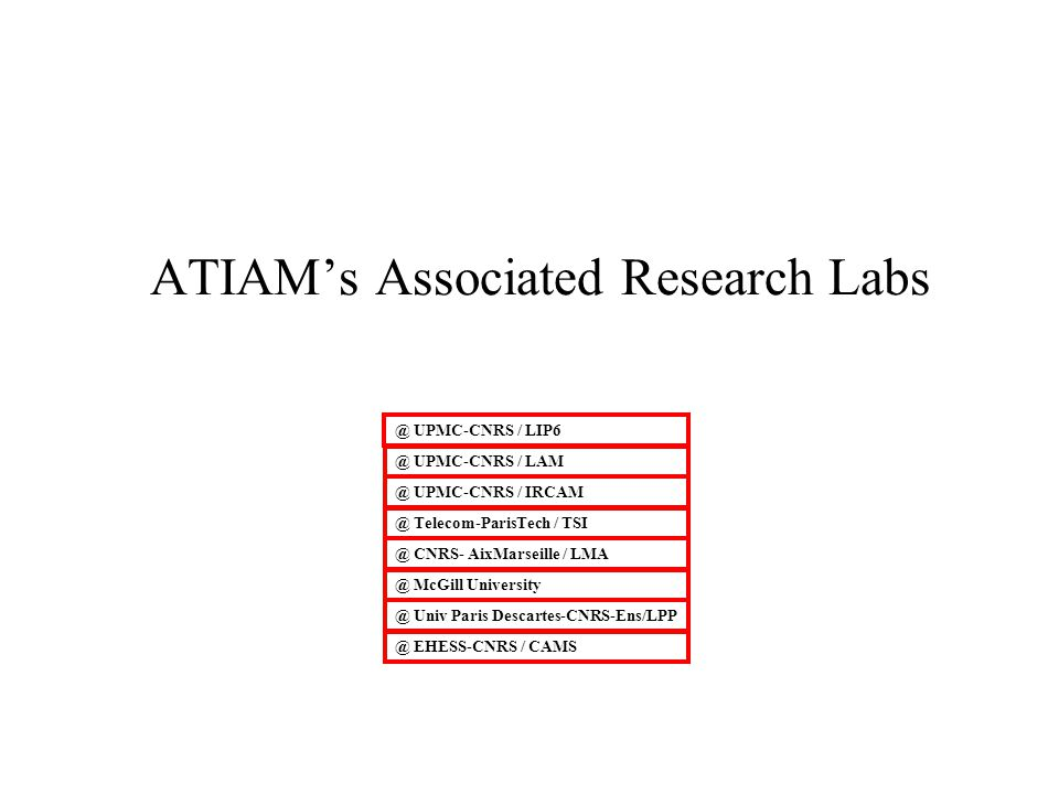 ATIAM's Associated Research Labs