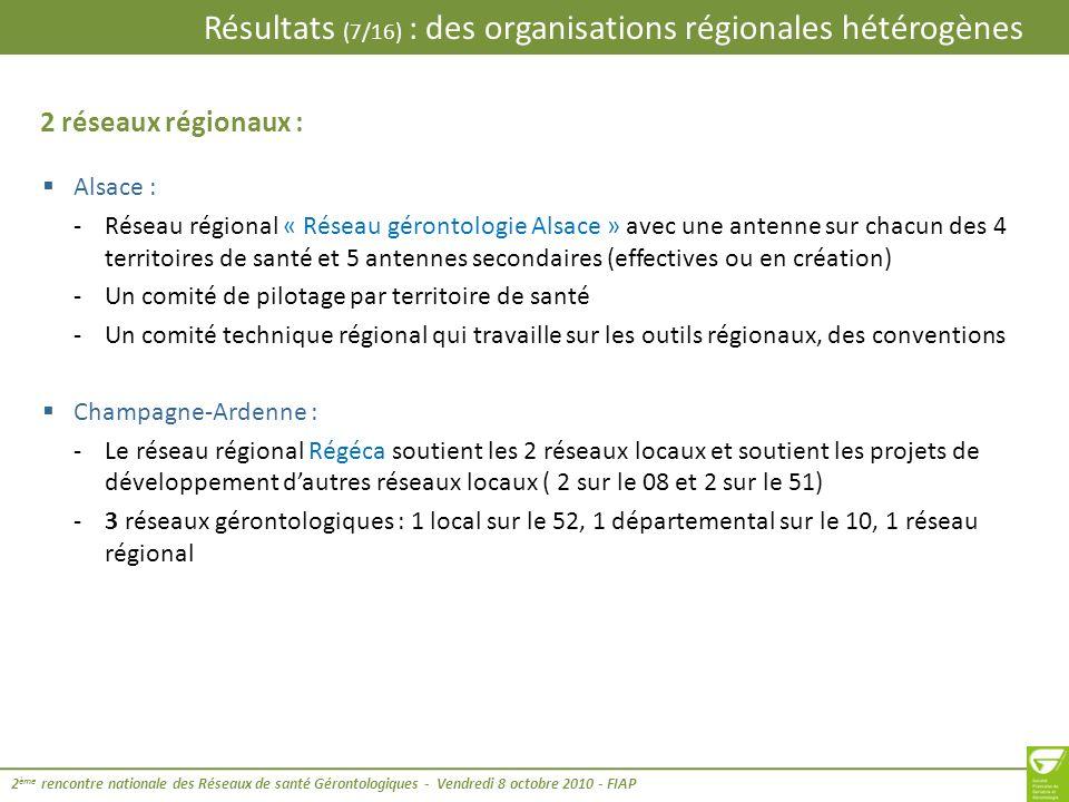 Résultats (7/16) : des organisations régionales hétérogènes