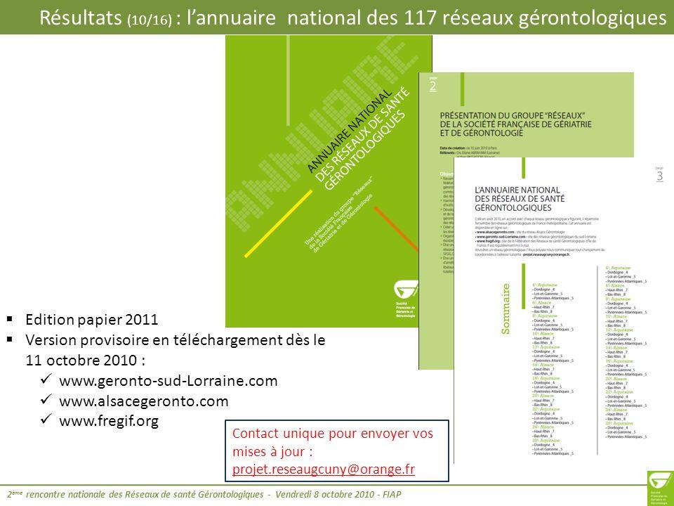 Résultats (10/16) : l'annuaire national des 117 réseaux gérontologiques