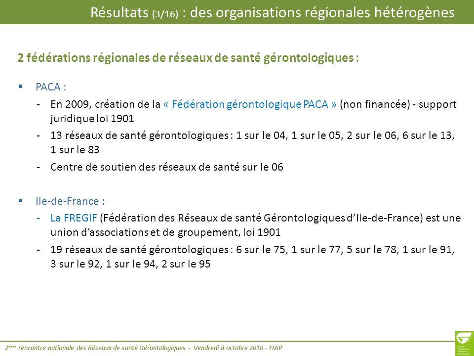 2 fédérations régionales de réseaux de santé gérontologiques :