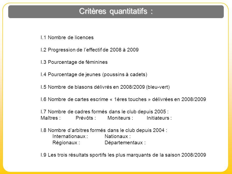 Critères quantitatifs :