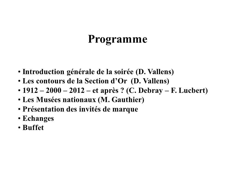 Programme Introduction générale de la soirée (D. Vallens)