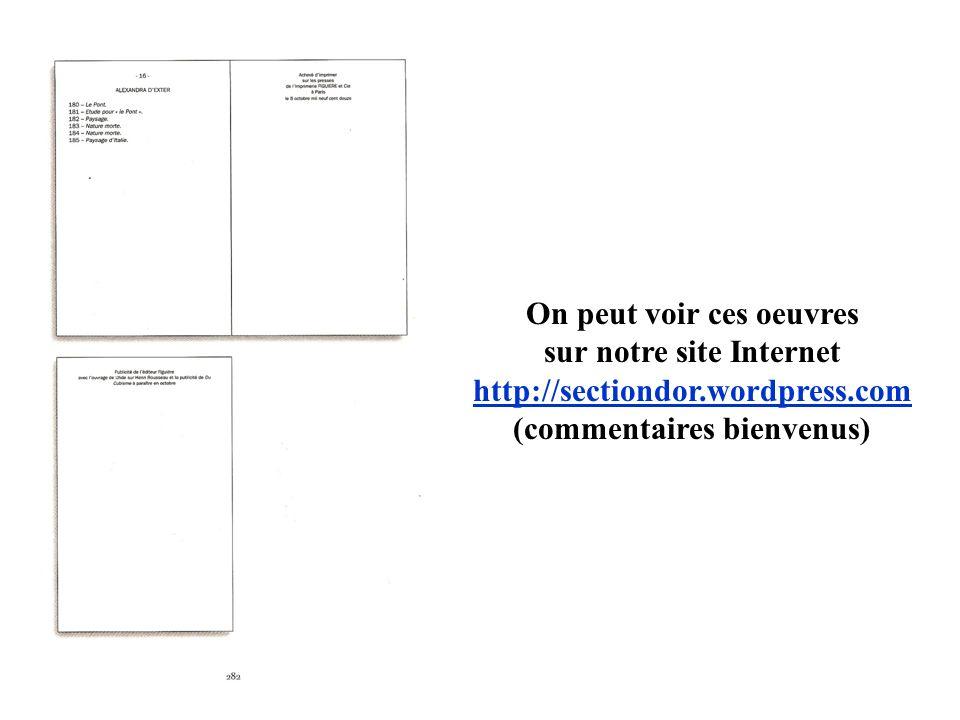 On peut voir ces oeuvres sur notre site Internet