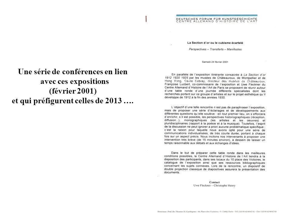 Une série de conférences en lien et qui préfigurent celles de 2013 ….