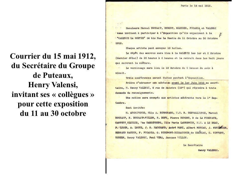 Courrier du 15 mai 1912, du Secrétaire du Groupe de Puteaux,