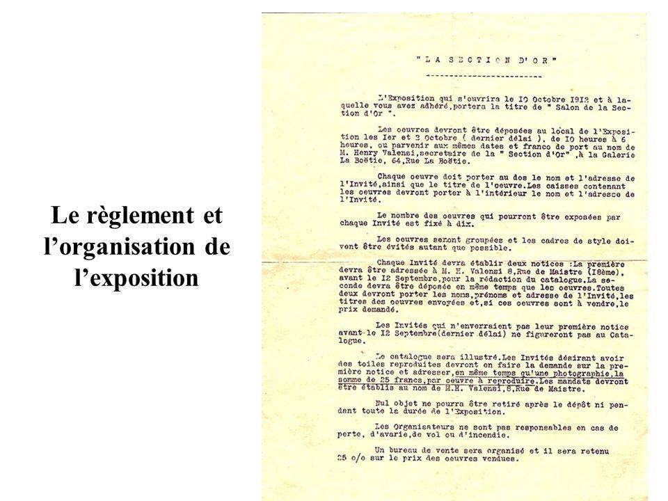 Le règlement et l'organisation de l'exposition