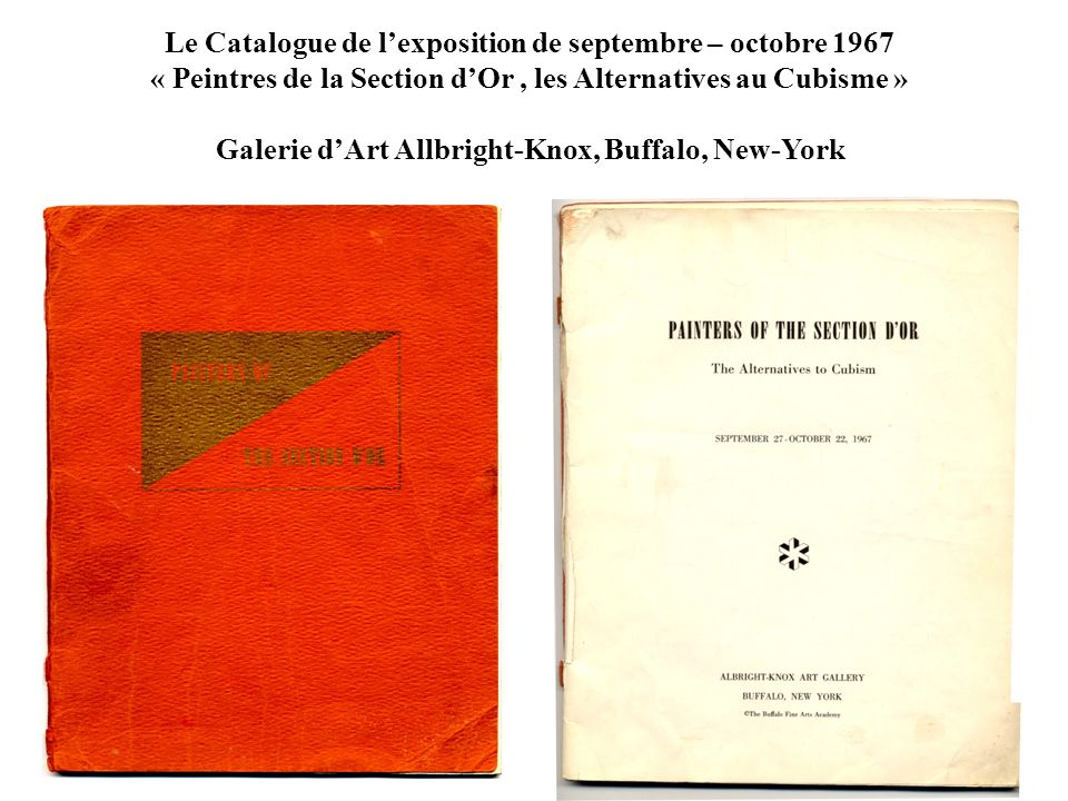 Le Catalogue de l'exposition de septembre – octobre 1967