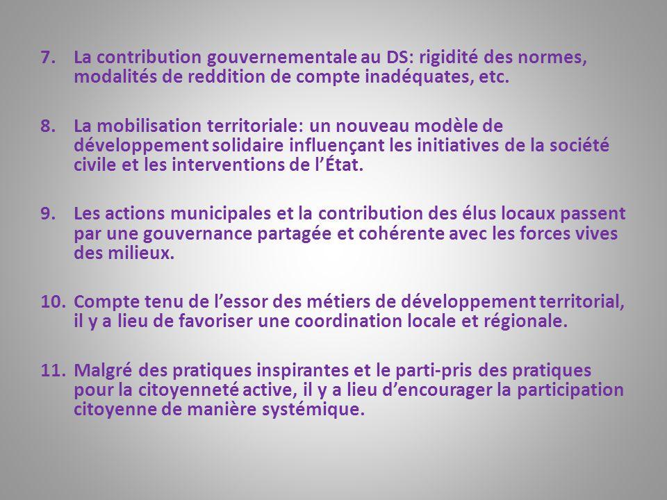 La contribution gouvernementale au DS: rigidité des normes, modalités de reddition de compte inadéquates, etc.
