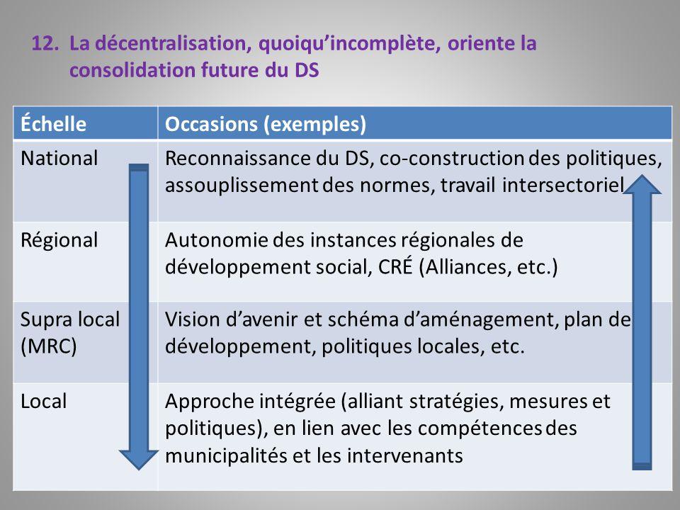 La décentralisation, quoiqu'incomplète, oriente la consolidation future du DS