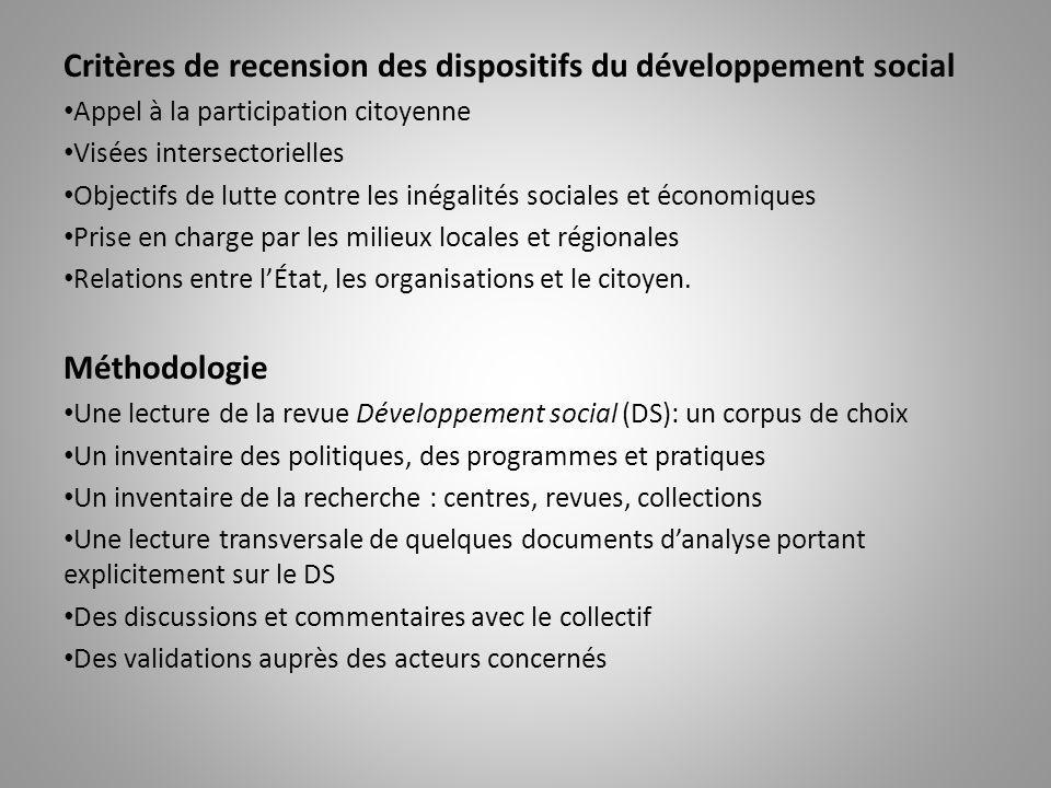 Critères de recension des dispositifs du développement social