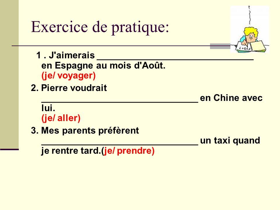 Exercice de pratique: 1 . J aimerais ______________________________ en Espagne au mois d Août. (je/ voyager)