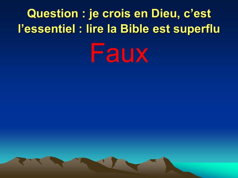 Question : je crois en Dieu, c'est l'essentiel : lire la Bible est superflu