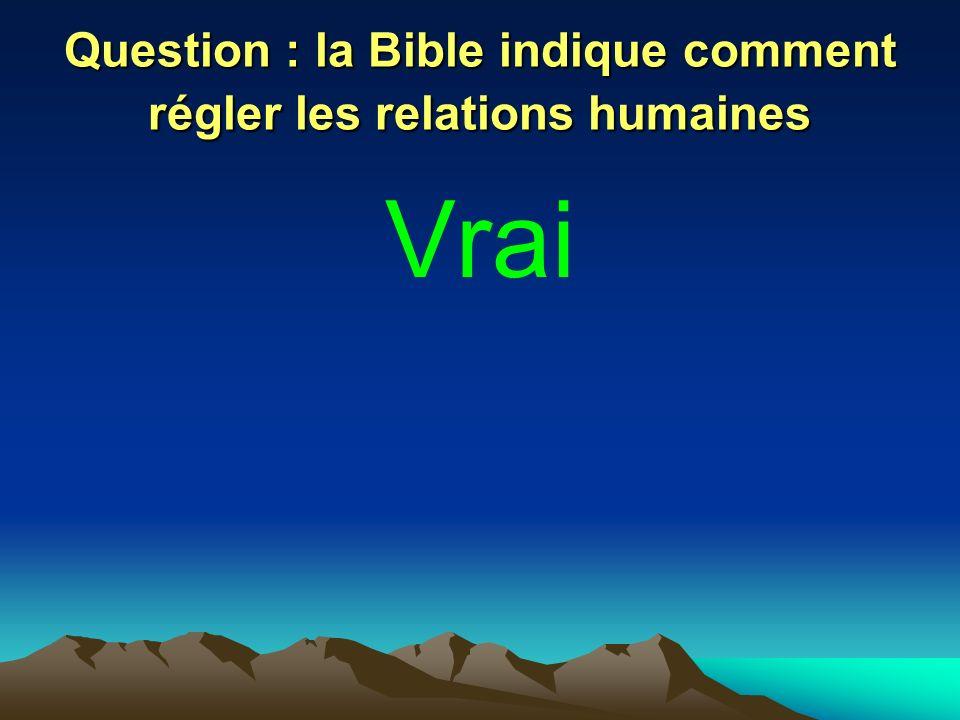 Question : la Bible indique comment régler les relations humaines