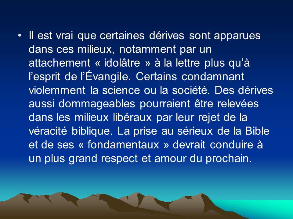 Il est vrai que certaines dérives sont apparues dans ces milieux, notamment par un attachement « idolâtre » à la lettre plus qu'à l'esprit de l'Évangile.