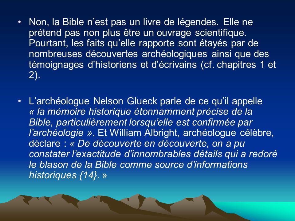 Non, la Bible n'est pas un livre de légendes