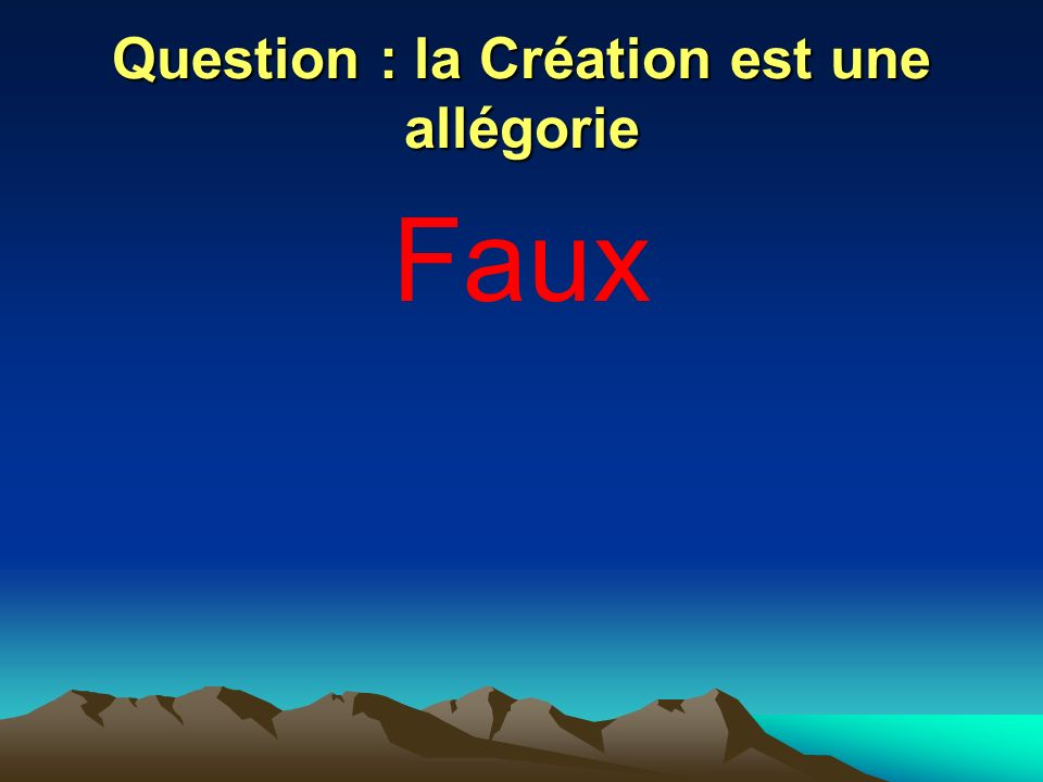 Question : la Création est une allégorie