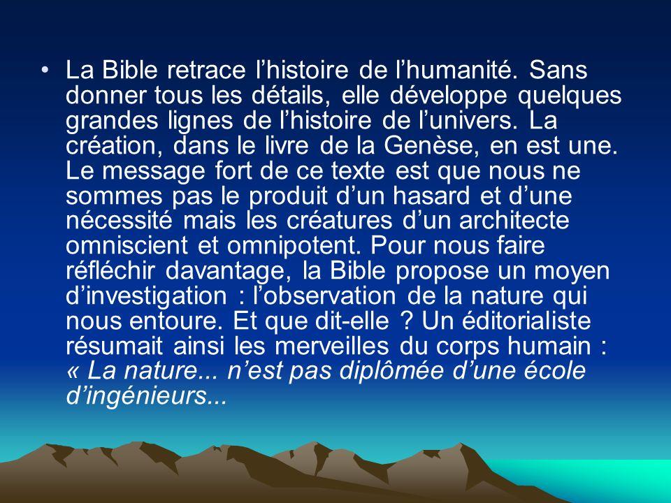La Bible retrace l'histoire de l'humanité