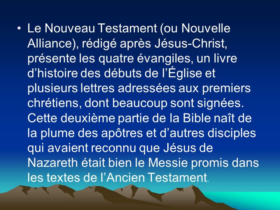 Le Nouveau Testament (ou Nouvelle Alliance), rédigé après Jésus-Christ, présente les quatre évangiles, un livre d'histoire des débuts de l'Église et plusieurs lettres adressées aux premiers chrétiens, dont beaucoup sont signées.