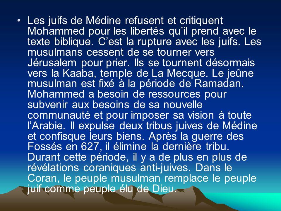 Les juifs de Médine refusent et critiquent Mohammed pour les libertés qu'il prend avec le texte biblique.