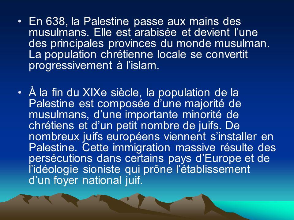 En 638, la Palestine passe aux mains des musulmans