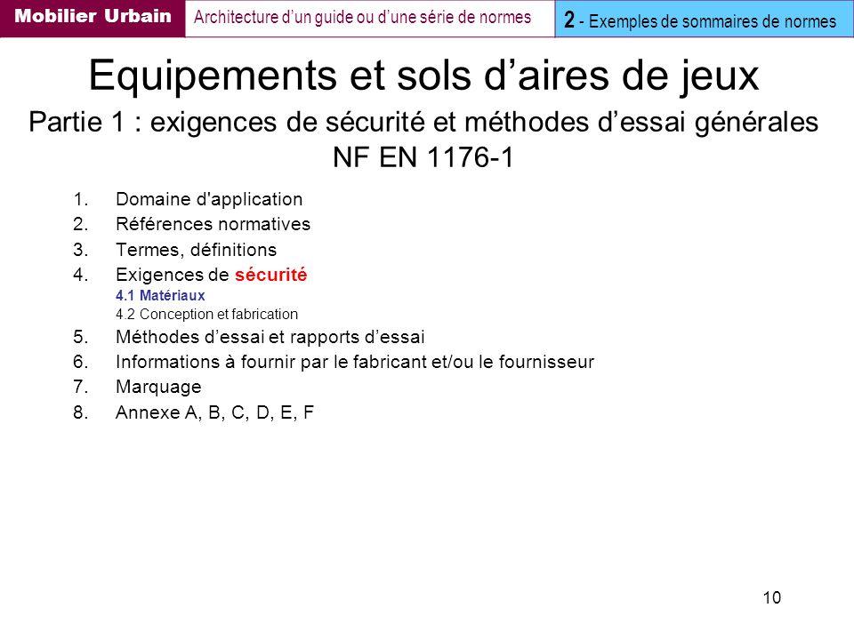 Mobilier Urbain Architecture d'un guide ou d'une série de normes. 2 - Exemples de sommaires de normes.