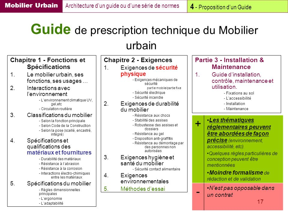 Guide de prescription technique du Mobilier urbain