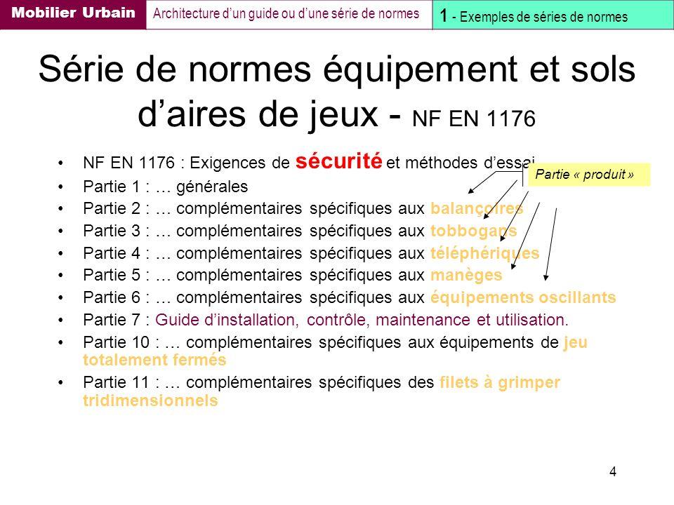 Série de normes équipement et sols d'aires de jeux - NF EN 1176