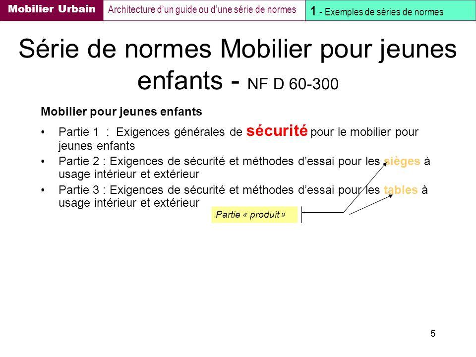 Série de normes Mobilier pour jeunes enfants - NF D 60-300