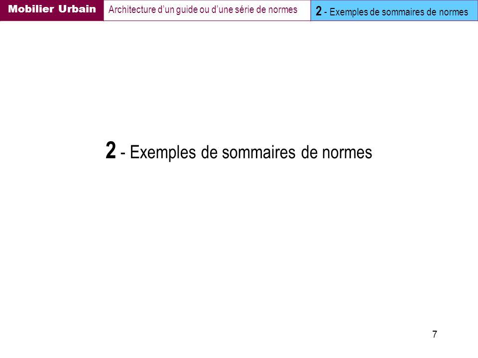 2 - Exemples de sommaires de normes