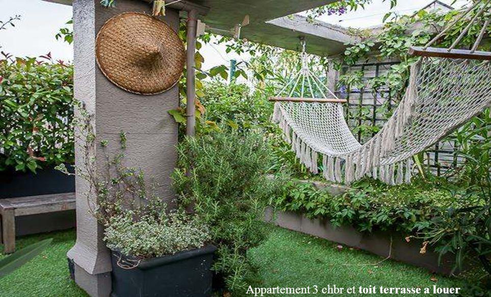 Appartement 3 chbr et toit terrasse a louer