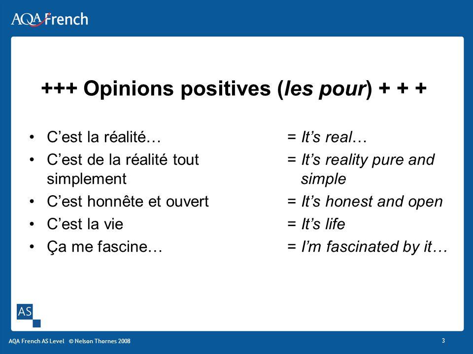 +++ Opinions positives (les pour) + + +
