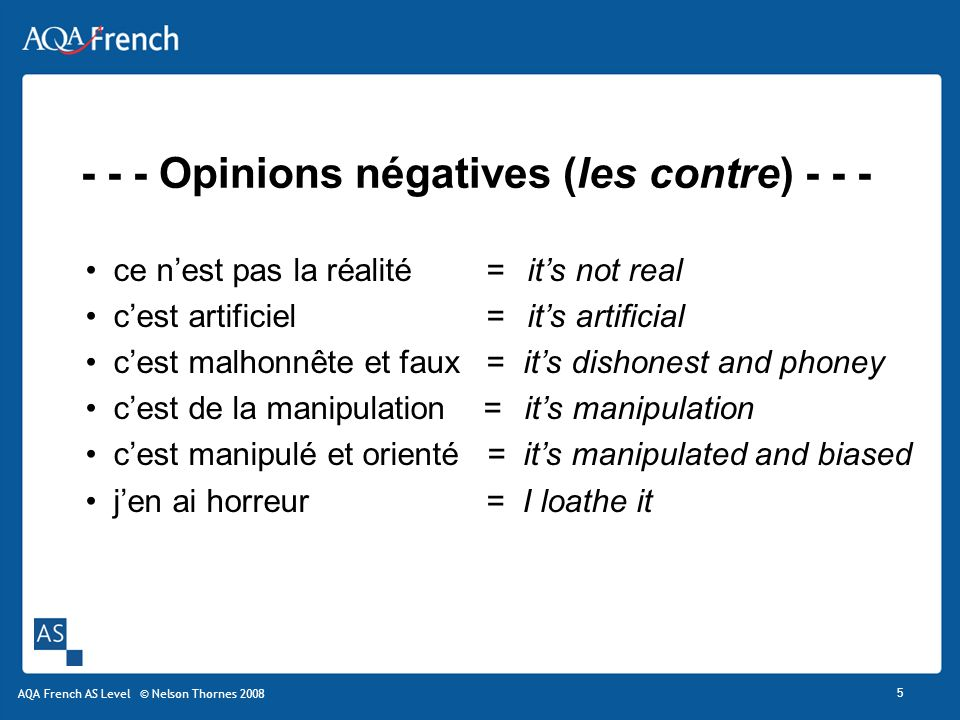 - - - Opinions négatives (les contre) - - -