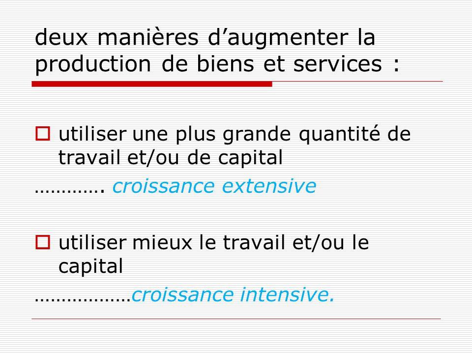 deux manières d'augmenter la production de biens et services :