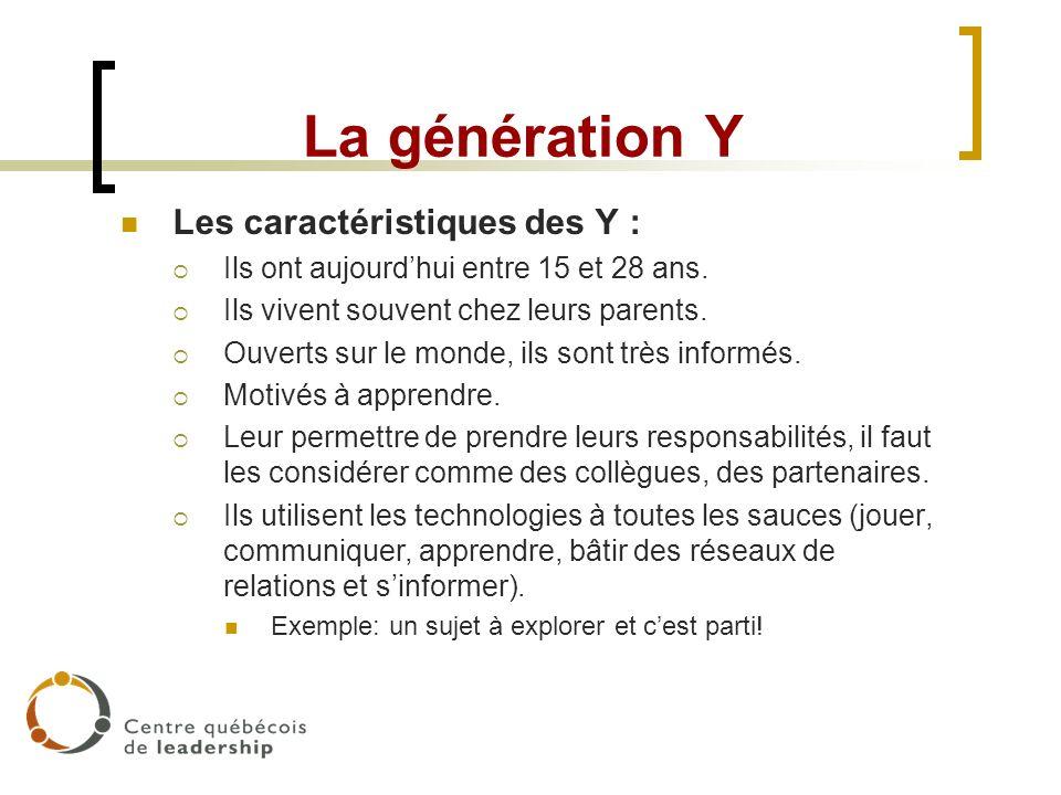 La génération Y Les caractéristiques des Y :