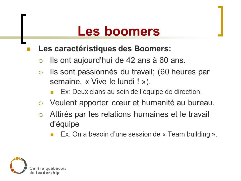 Les boomers Les caractéristiques des Boomers: