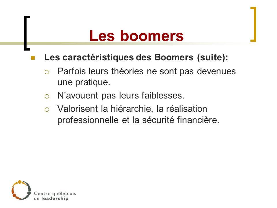 Les boomers Les caractéristiques des Boomers (suite):
