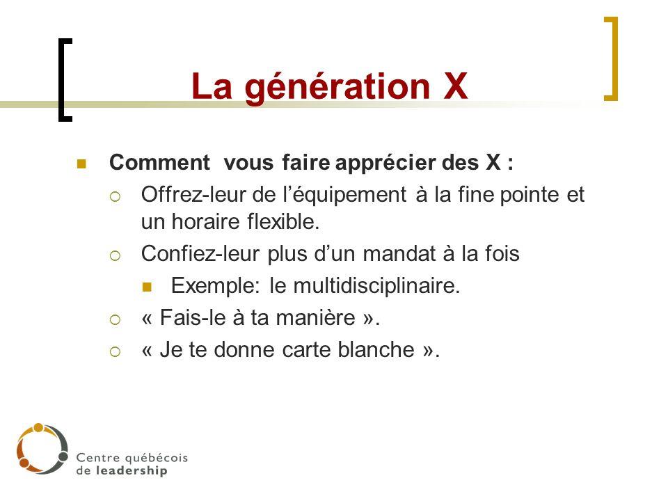La génération X Comment vous faire apprécier des X :