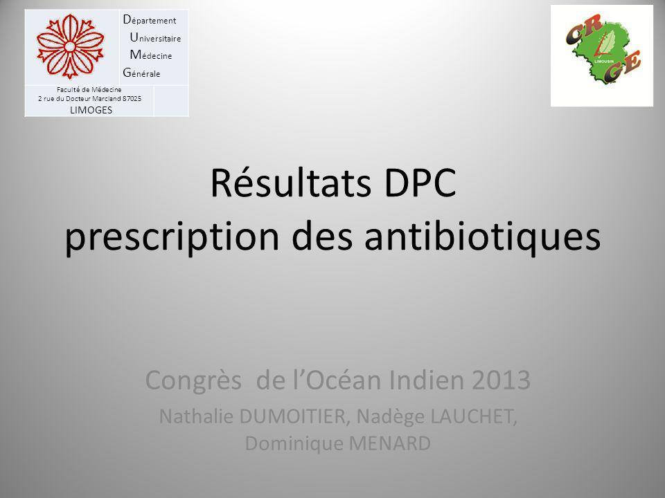 Résultats DPC prescription des antibiotiques