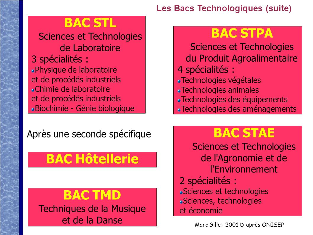 BAC STL BAC STPA BAC STAE BAC Hôtellerie BAC TMD